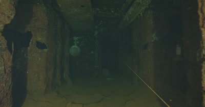 traveling through ship wreck hallway to helmet. USS Saratoga