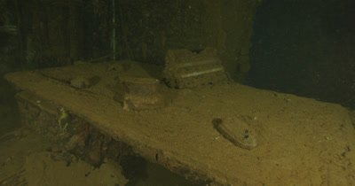 exploring interior of USS Saratoga wreck