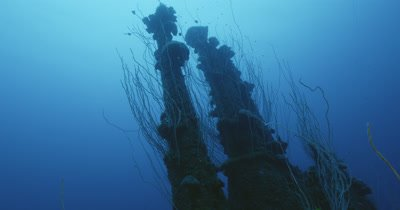 tilted view of the bridge of USS Apogon ship wreck