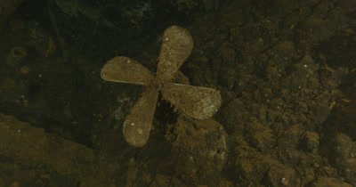 Close up of propeller inside ship wreck. USS Apogon
