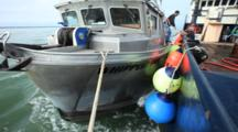 Bristol Bay Salmon Fishery - Fishing Boat Tied Up To Tender In Tidal Current