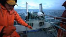 Bristol Bay Salmon Fishery - Fishermen Picking Fish From Gillnet - Good Blocking