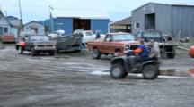 Bristol Bay Salmon Fishery - Coffee Point Egegik, Alaska Truck With Net Reel 4 Wheeler Drives Into Frame