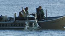 Bristol Bay Salmon Fishery - Fishermen Haul Net And Pick Fish From Setnet Skiff