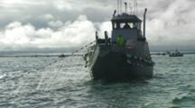 Bristol Bay Salmon Fishery - Fishing Boat Maneuvers With Net Out, Silver Sky