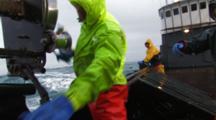 Crab Fishing Bering Sea Alaska - Fisherman Throws Hook And Runs Bouys Through Block Fast Action