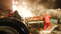 Crab Fishing Bering Sea - Fishermen Dump Crab, Swing Table As Wave Crashes Into Boat