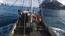 close up POV travel on boat, longlining for halibut and black cod alaska