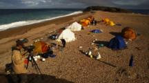 Film Making Crew Set Up In Tent Camp On Beach
