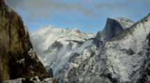 Time Lapse Clouds Above Yosemite Landscape Near Half Dome
