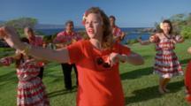 Women Perform Hula Accompanied By Musicians