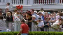 Spectators, Including Eccentric Man In Costume, Wait At Churchhill Downs