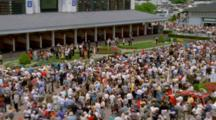 Wide Shot Of Crowds And Horses At Churchhill Downs