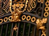 Elaborate Iron Gate With Gold Sculpture