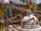 Buildings And Stupa With Many Prayer Flags