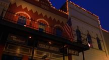 Frontier Town Storefronts Display Lights And American Flag