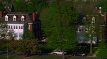 Aerial Past Waterfront Homes, Washington D.C.