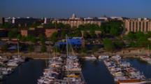Aerial Over Marina, Capitol Building In The Background, Washington D.C.