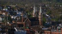 Aerial Around Church In Pittsburgh