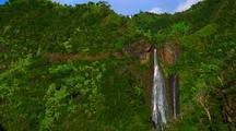 Aerial Through Jungle Over Two Small Waterfall, Kauai/Hawaii