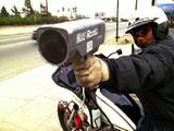 Motorcycle Police Officer With Radar Gun