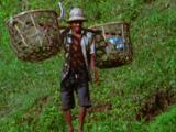 Man Carries Baskets On Shoulders