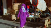 People Walking Down Street, Morocco