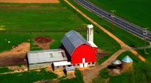 Aerial Over Farms And Farmland