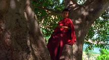 Young Man Stands In Tree In Red Robe Posing For Camera