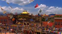 Town With Prayer Flags In Nepal