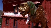 Valley Town In Tibet, Pan To Sculpture
