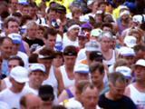 Crowd Of Marathon Runners At Beginning Of Race