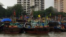 Colorful Boats In City Marina