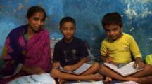 Two Boys Studying, Pose With Mother