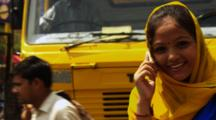 Young Hindu Woman On Cell Phone