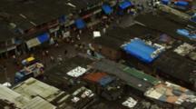Overlook Of Traffic And Pedestrians In Mumbai Slum
