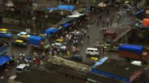 Overlook Of Traffic And Pedestrians In Mumbai Slum