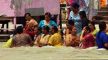 Crowds Of Hindu People Gather For Ritual Bath In Ganges River