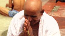Man Takes Ritual Bath In Ganges River