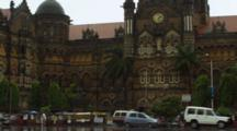 Traffic And Pedestrians In Front Of Chhatrapati Shivaji Terminus