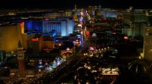 Aerial Over Las Vegas Strip At Night