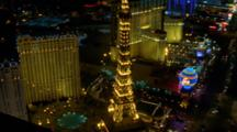 Aerial Around The Neon Of The Riviera Hotel And Casino On The Las Vegas Strip