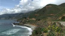 Big Sur Coastline With Highway And Wildflowers