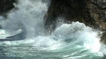 Rugged Coast With Big Waves Crashing