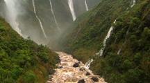 Aerial of Kauai Interior, Multiple Waterfalls
