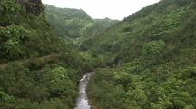 Aerial of Kauai, Steep Canyon (Waimea?), River At Bottom