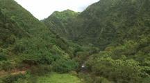 Aerial of Kauai, Steep Canyon (Waimea?), River At Bottom