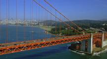 Aerial Traveling Span Of  Golden Gate Bridge To Presidio