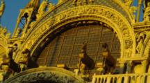 Horse Statues On St. Mark's Basilica At Sunset