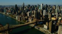Aerial Of Queensborough Bridge And Manhattan Skyline